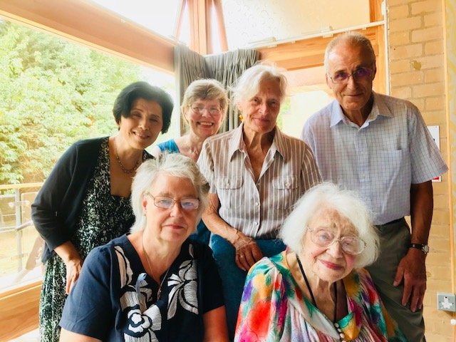 lindsay whittington, alice sluckin and SMIRA committee on Alice's 99th birthday