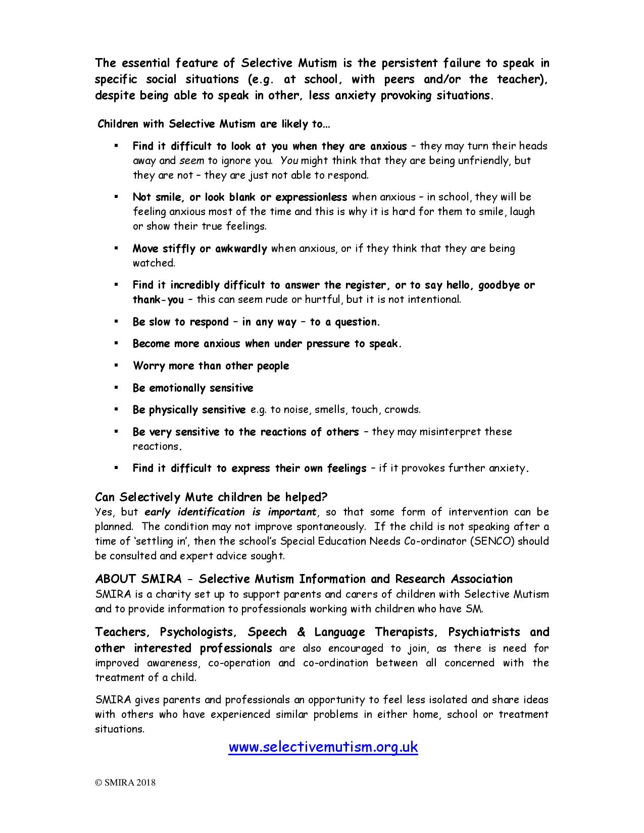 selective mutism awareness leaflet page 2